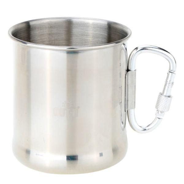Krus/kopp i rustfritt stål med skrukarabin