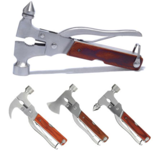 Multiverktøy i rustfritt stål med hammer, nødhammer, skrutrekker eller øks, tang, kniv m.m.