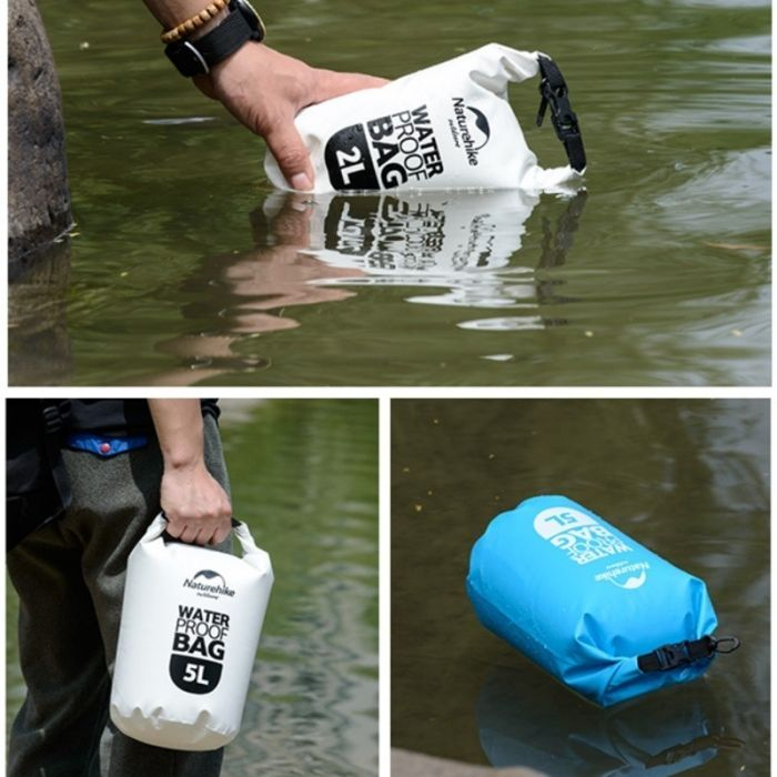 Vanntett pakksekk fra Naturehike. Kommer i 2 liter og 5 liter i blått og hvitt.