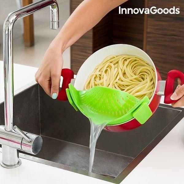 Silikonsil fra InnovaGoods som er veldig praktisk og enkel for drenering av pasta og andre matvarer.