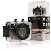 """Brukervennlig 720p HD-actionkamera med 2"""" berøringsskjerm og innebygd mikrofon."""