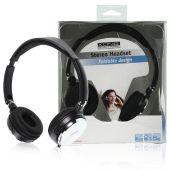 Kablet sammenleggbart stereo headset og justerbar hodebøyle med innebygd mikrofon